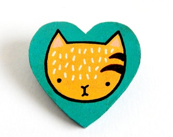 Cosmic Ginge Hand Painted Heart Kitty Cat Catlady Brooch.