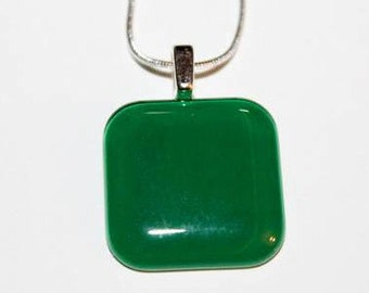 "1"" Square Glass Green Pendant with Necklace"