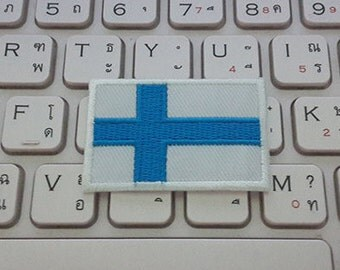 Finland Flag Applique Embroidered Iron on Patch size 4.5 cm. x 3 cm.