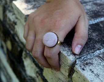Mauve Ring - Dusty Pink & Gold Ring -  Adjustable Ring - Statement Ring - Hippie - Boho Ring - Gift for Her - Bridesmaid Gift - Ornate Ring