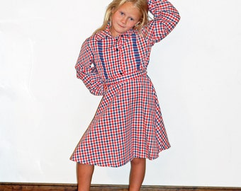 Vintage Girls Tiny Town Plaid 1970s Western Cowgirl Dress Blue and Red Size 7 - 8