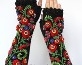 MADE TO ORDER in 4-6 weeks, Knitted Fingerless Gloves, Black, Red, Long, Clothing And Accessories,Gloves & Mittens,Gift Ideas, Accessories