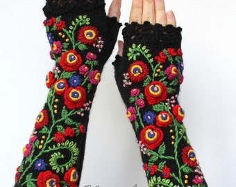 Knitted Fingerless Gloves, Black, Red, Long, Clothing And Accessories,Gloves & Mittens, Fall Fashion Accessories,Gift Ideas, Accessories
