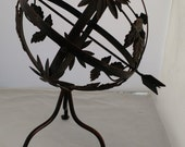 cast iron armillary/ globe with arrow,French country cottage ,,rustic,old world,
