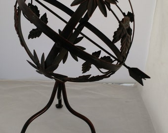 ON SALE. cast iron armillary/ globe with arrow,French country cottage ,,rustic,old world,