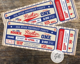 Baseball Invitation, Baseball Birthday Invitation, Baseball invite Baseball Ticket Invitation Baseball Birthday Baseball Party Little Rookie