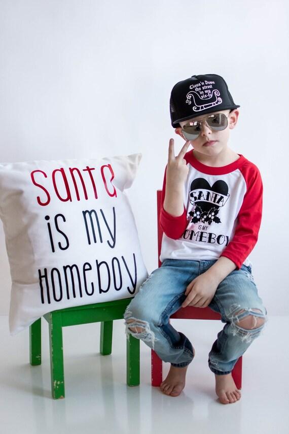 Santa is my Homeboy Red Raglan, Christmas tshirts, funny Christmas shirt, Christmas kids shirts kids,santa shirt, first Christmas clothing