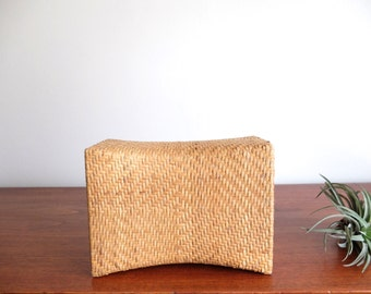 Vintage chinese weaved straw cushion / pillow / headrest