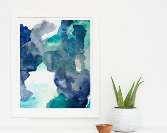 Large Abstract Painting Print Art, Abstract Art Print, Blue Art Print, Large Art Print, Blue Painting Giclee, Large Painting Print, Begin