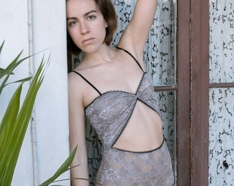 Marina High Waisted Sheer Lace Lingerie Bodysuit // Grey French Lace // Wedding Lingerie - Made To Oder -