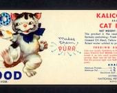 1958 Kalico Kat Food Label - So Cute When Framed