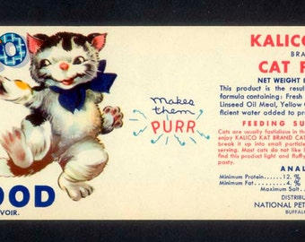 1958 Kalico Kat Food Label - So Cute When Framed
