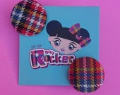 Highland Tartan Button Earrings, Made In England, Retro, Vintage, Alternative, Mod, Dolly, Punk, Kitsch, Plaid, WHO'S Off Her Dolly Rocker