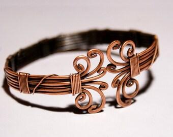 mens copper bracelet, mens cuff bracelet, wire wrapped jewelry handmade, copper cuff bracelet, copper bracelet men