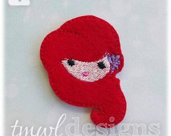 "Emoji Mermaid Princess Feltie Digital Design File - 1.75"""
