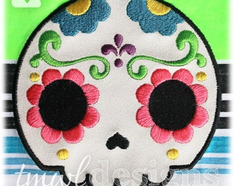 Sugar Skull Fleur De Lis Appliqué Digital Design File - 5x7