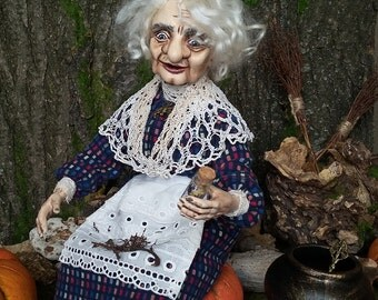 """OOAk art doll """"The old good witch"""""""