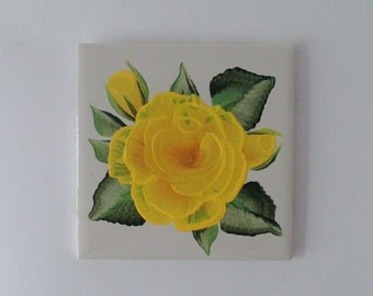 Yellow Rose Off-White Ceramic Tile 4 Inch hand-painted Rose Tile Coaster - Back Splash Tile - Ceramic Tile Wall Hanging - Yellow Rose Decor