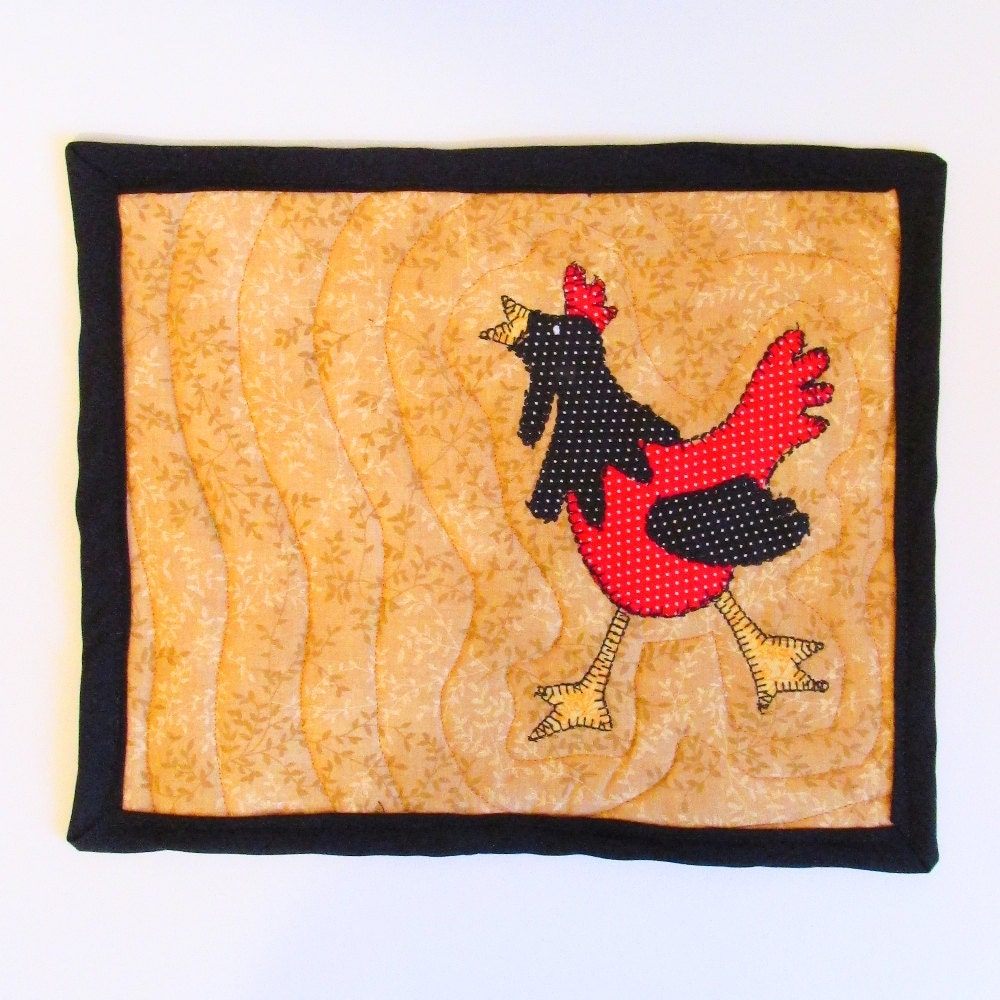 Rooster Mug Rug Appliqued Red And Black Rooster Mat Quilted
