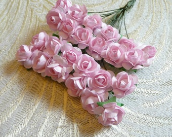 Paper Roses Handmade Flowers Bunch of 24 Pale PINK Small for Crafts, Scrapbooking, Party Favors, Decorations
