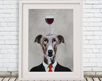 Greyhound Print, Greyhound Illustration Art Poster Acrylic Painting Kids Decor Drawing Gift, Dog with wineglass