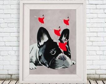 Hip hop Bulldog print, frenchie Poster, Digital Art Original Illustration Giclee Print Wall art Wall Hanging Wall Decor Animal Painting
