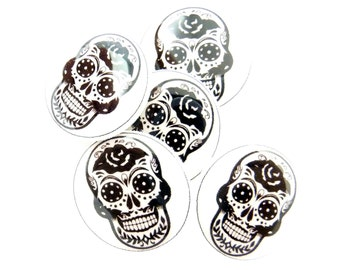 "5 Sugar Skull Sewing Buttons.  Black and White Handmade Buttons. 3/4"" or 20 mm Shank Style Skull Buttons for sewing."