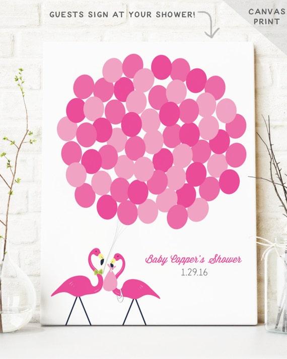 flamingo baby shower guest book alternative baby shower decor pink
