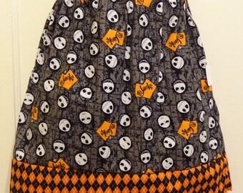 Nightmare Before Christmas Girls Skirt, Jack Head Toss, Ready To Ship Size 7, Jack Skellington, Cotton Fabric