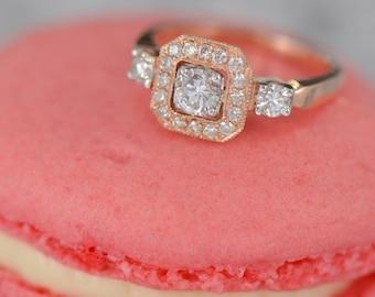 Art Deco-Inspired Diamond Ring (18K Rose Gold)