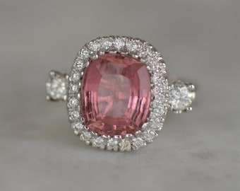ONE-OF-A-KIND: Cushion Cut Natural Pink Tourmaline and Diamond Ring (14K White Gold)