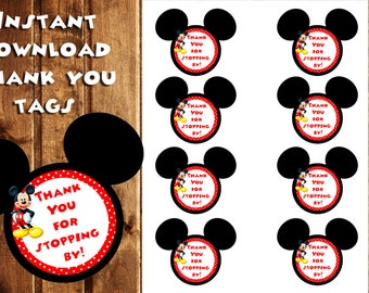 Mickey Mouse Thank You Tags, Mickey Mouse Gift Tags, Instant Download, Thank You Tags, Clubhouse, Mickey Birthday Tags, Birthday Stickers