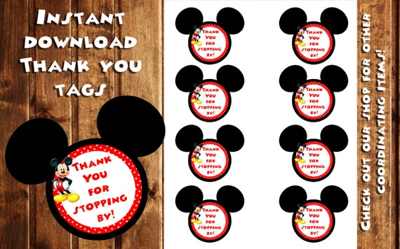 Mickey Mouse Thank You Tags Mickey Mouse Gift Tags Instant