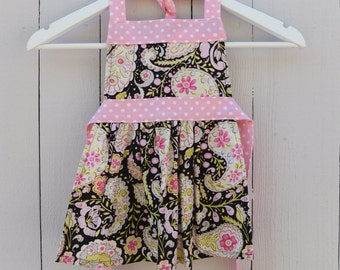 Little Girls Apron for ages 2/3 Black and Pink Paisley // Gift for Toddler // Children's Apron