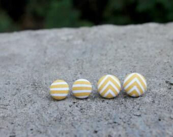 Mustard Stripe Fabric Button Earrings // Chevon Earrings // Fabric Earrings // Yellow Earrings // Covered Button Earrings // Retro Studs