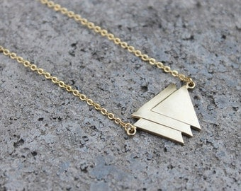Triple Triangle Brass Necklace // Pendant Necklace // Geometric Necklace // Minimal Triangle Necklace // Gold Necklace