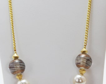 Striped Brown Glass and Pearl Bead Necklace, Brown Glass Beaded Necklace, Brown Necklace, Pearl Necklace, Brown and Gold Necklace