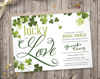 Lucky in Love – Bridal Shower Invitation (Digital file)