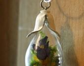 On Sale-Enjoy 25% Off now Terrarium necklace, multicolor flower necklace, flower pendant, pansy pendant, glass and flower pendant, nature ne