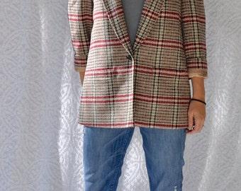 Vintage PENDLETON Jacket | Retro Tweed Blazer. Plaid Wool Jacket. Preppy Womens Blazer w. Pockets. Winter Wool Jacket | Womens Large