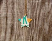 Upcycled Vintage Florida Green and Orange License Plate Star Ornament