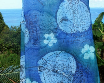 Roots Logo Handprinted Gauze Scarf Made in Seychelles:  Blue
