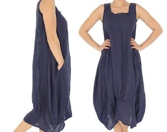 HH700BL ladies dress linen tunic Gr. 42 44 46 48 50 52 blue