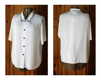 Vintage white & navy blue oversized sheer blouse