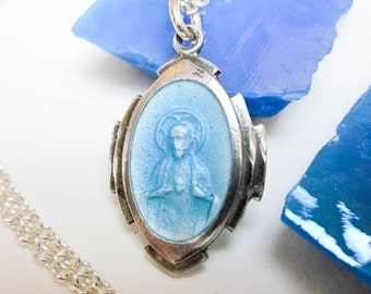 "Necklace Our Lady of Carmel & Sacred Heart of Jesus Enamel Pendant, Sterling Silver. 18"" Chain, Vintage 1950s, USA."