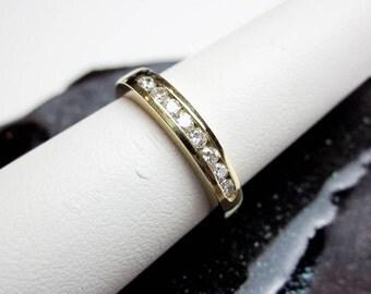 1/4Ct. Anniversary Ring/ Band, Vintage 60s, 8 Genuine Diamonds 14K Gold, Full Cut Round Gems, NY USA.