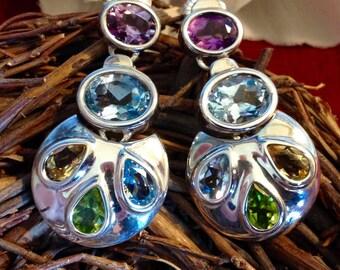 Sterling Silver Sagen Style Bezel Set Multi Color Earrings (st - 1487)