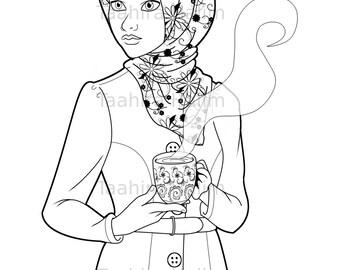 Muslim Hijabi Coloring Book Page Download - Muslimah Lady With Mug