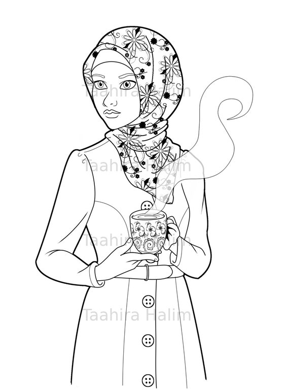 Muslim Hijabi Coloring Book Page Download - Muslimah Lady With Mug
