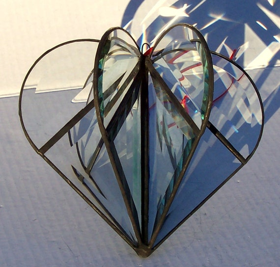 Clear Beveled Glass 3-D Heart Suncatcher, Valentine's Gift, Stained Glass Hanging Sun Catcher, Unisex Gift, Wedding or Engagement Gift